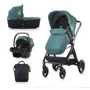Chipolino 'Elite 3' Kombikinderwagen 3 in 1 Grün, inkl. Babywanne und Babyschale