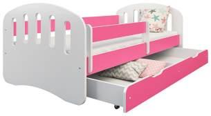 Clamaro 'Joy' Kinderbett 80x160 cm, weiß/rosa, inkl. Matratze, Lattenrost und Bettkasten