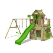 FATMOOSE Spielturm Klettergerüst CrazyCat mit Schaukel & apfelgrüner Rutsche, Spielhaus mit Leiter & Spiel-Zubehör