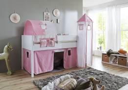 Relita 'Luka' Halbhochbett 90x200 MDF/Buche weiß lackiert, mit Vorhang, 1-er Tunnel, Tasche und Turm rosa/weiß/Herz