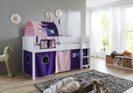 Relita 'Luka' Halbhohes Bett 90x200 MDF/Buche weiß lackiert, mit Vorhang, 1-er Tunnel und Tasche