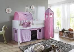 Relita 'Luka' Halbhochbett 90x200 MDF/Buche weiß lackiert, mit Vorhang, 1-er Tunnel, Tasche und Turm purple/rosa/Herz