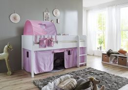 Relita 'Luka' Halbhochbett 90x200 MDF/Buche weiß lackiert, mit Vorhang, 1-er Tunnel und Tasche purple/rosa/Herz