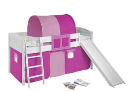 Spielbett 'LANDI/R' weiß inkl. Vorhang Pink Rosa