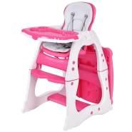 COSTWAY 3 in 1 Babyhochstuhl, Hoch- Babystuhl & Sitzgruppe mit in 3 Positionen anpassbarem Essenstablett, 3 fach verstellbare Rückenlehne, 5-Punkt Gurt, rosa