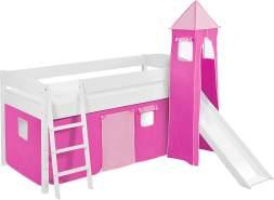 Lilokids 'Ida 4105' Spielbett 90 x 200 cm, Rosa, Kiefer massiv, mit Turm, Rutsche und Vorhang