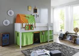Relita 'Luka' Halbhochbett 90x200 MDF/Buche weiß lackiert, mit Vorhang, 1-er Tunnel und Tasche grün/orange
