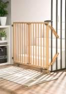Geuther Treppenschutzgitter, für Türbreiten 95 - 135 cm, zum Bohren, Holz, Natur