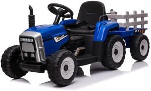 Moni 'Farmer' Kinder Elektrotraktor mit Anhänger, MP3/USB und Beleuchtung, blau, maximal belastbar bis 30 kg, ab 3 Jahren
