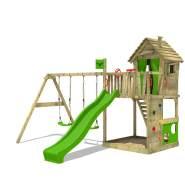 FATMOOSE Spielturm Klettergerüst HappyHome mit Schaukel & apfelgrüner Rutsche, Spielhaus mit Sandkasten, Leiter & Spiel-Zubehör
