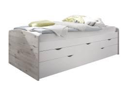 Bega 'Nessi' Stauraumbett mit Ausziehbett, sandeiche /weiß, 90x200 cm