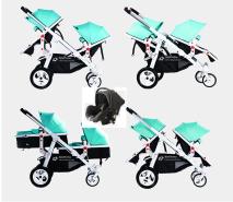 Babyfivestar Geschwisterwagen Türkis inkl. Babyschale