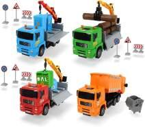 Dickie Toys 203744003 'Heavy City Truck', Man LKW, Spielzeuglaster mit Friktion, inkl. Zubehör, bewegliche Teile, 20 cm - 1 Stück, zufällige Auswahl, keine Vorauswahl möglich