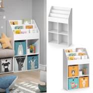 Vicco 'LUIGI' Kinderregal, weiß, mit 3 Fächern für Bücher und 4 Fächern für Faltboxen