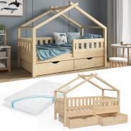 VitaliSpa 'Design' Kinderbett 80 x 160 cm, natur, Massivholz Kiefer, inkl. 2 Schubladen und Matratze