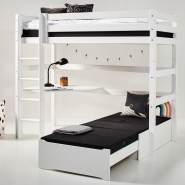Hoppekids 'Premium' Hochbett weiß, mit schräger Leiter, inkl. extra Einzelbett