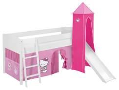 Lilokids 'Ida 4106' Spielbett 90 x 200 cm, Hello Kitty Rosa, Kiefer massiv, mit Turm, Rutsche und Vorhang