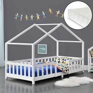 en.casa 'Treviolo' Hausbett 90x200 cm, weiß, Kiefernholz, mit Matratze, Lattenrost und Rausfallschutz
