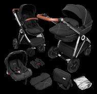 BabyGO 'Halime Air' Kombikinderwagen 4plusin1 Anthracite/ Gestell Silber inkl. Sitz, Babywanne, Babyschale, Wickeltasche, Adapter, Regenfolie und Wintersack