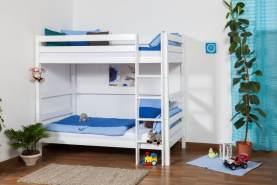 Kinderbett Etagenbett Thomas Buche Vollholz massiv weiß lackiert, inkl. Rollrost - 90 x 200 cm, teilbar