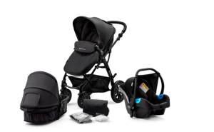 Kinderkraft 'Moov' Kombikinderwagen 3 in 1 Black, inkl. Babywanne, Babyschale, Fußsack, Wickeltasche, Insekten - und Regenschutz
