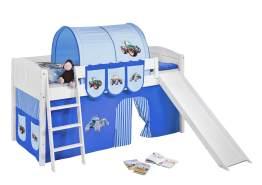 Spielbett 'LANDI/R' weiß inkl. Vorhang 'Trecker Blau'
