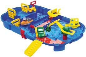 AquaPlay 'Aquabox mit Schleuse' Wasserbahn, 85 x 65 x 22 cm, inkl. Kran, Wasserrad, Amphibienauto und Spielfigur, LockBox