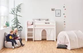 Hoppekids 'Premium' Halbhochbett weiß, gerade Leiter, 70x160 cm