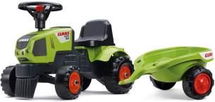 FALK 1012B 'Traktorrutscher Claas mit Anhänger', ab 12 Monaten, maximal belastbar bis 25 kg, grün, inkl. Lenkrad, Anhängerkupplung und Hupe