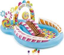 Intex ''Playcenter Candy Zone'' Planschbecken, 295 x 191 x 130 cm, ab 3 Jahren, inkl. Rutsche, 2 Bällebahnen, Sprühfunktion, aufblasbaren Lollipops und 6 Spielbällen