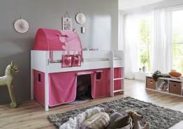 Relita 'Luka' Halbhochbett 90x200 MDF/Buche weiß lackiert, mit Vorhang, 1-er Tunnel und Tasche pink/rosa/Herz
