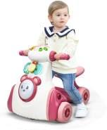 COSTWAY Rutschauto mit Musik, Tiersound und Licht, Rutschrad mit Trommel und Spielbrett, Laufrad bis 15kg belastbar, Lauflernrad für 19-36 Monate Jungen und Maedchen Rosa
