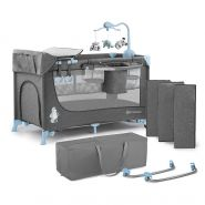 Kinderkraft 'Joy' Reisebett 120 x 60 cm, Blau, mit Schaukelfunktion, Seitenausgang und Rollen, inkl. Mobile, Wickelauflage und Tasche