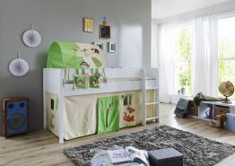 Relita 'Luka' Halbhochbett 90x200 MDF/Buche weiß lackiert, mit Vorhang, 1-er Tunnel und Tasche