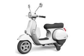 Kidcars 'Piaggio Vespa' Kinder Elektro Roller mit Stützräder, 2x 20W, 12V, 7Ah, weiß