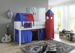 Relita 'Luka' Halbhochett 90x200 MDF/Buche weiß lackiert, mit Vorhang, 1-er Tunnel, Tasche und Turm blau/rot