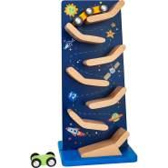 small foot 11446 Kaskadenturm 'Space' aus Holz, Murmelturm für kleine Raumfahrer, mit 2 Autos, ab 3 Jahren