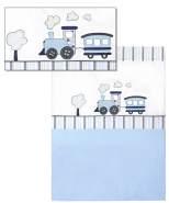 Belily 'Eisenbahn' World 4-tlg. Baby Bettset 100 x 135 cm weiß/blau
