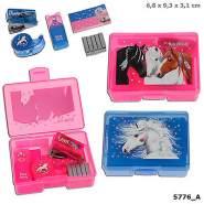 Depesche 5776 - Mini Schreibtischset in Box mit Pferdemotiv, Miss Melody, sortiert in Pink oder Blau - zufällige Auswahl