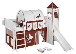 Spielbett 'LANDI/S' weiß inkl. Vorhang und Turm 'Pferde Braun'