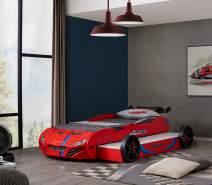 Relita Autobett Superdrift mit Gästebett, 90x200 cm, rot